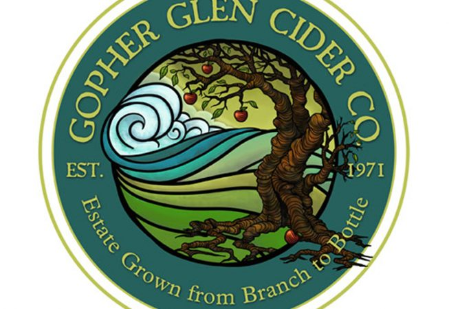 Logo and Branding: Local Cider in the Hills of See Canyon  between Avila Beach, Where the rich earth meets the bountiful ocean, crisp apples flourish and became cider. Hand Drawn artwork in digital form.